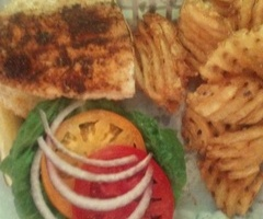 Mahi Sandwich with Waffle Fries