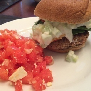 Feta Turkey Burger with Tzatiki and Melon Feta Salad